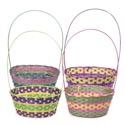 Easter Basket Oval Bamboo 4ast Extra Large 14.5 X 11.5d X 6inh 21inh W/fixed Handle Easter Ht