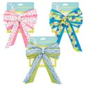 Easter Basket Bow Fabric W/3ast Print Ribbon 7x10 Easter Tcd Yellow/blue/pink