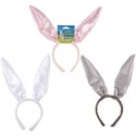 Bunny Ear Headband 13in Long Ear Satin W/wire-white/pink/grey Easter Header