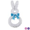 Easter Bunny Shape Tinsel Decor Lg Size 3ast 19.25 X 9.5in W/3ast Color Bowtie