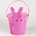 Easter Bucket Plastic W/handle Bunny 4ast Blue/pink/yellow/grn Dia 7inx8.25in H 90g/east Ht