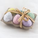 Easter Foam Egg 6pk Decoration W/tray & Raffia Bow Ast Color Eggs Per Pk Easter Label