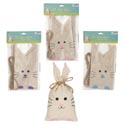 Treat Bag Burlap W/bunny Ear 3pk 7x4in W/twine Ties 3astclr Easter Pbh