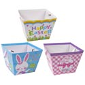 Easter Bucket Paper 3 Prints W/ribbon Handle 7.5x5.375x5.75in Easter Upc Label