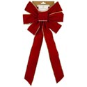 Bow 10x22in Red Velvet W/gold Trim Xmas Tcd
