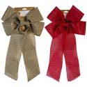 Bow Christmas Gold Or Red Jumbo 19in Glittered Burlap Look Xmas Tcd