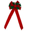 Bow Red/green Velvet 11x28in 12loop Xmas Tcd