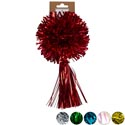 Bow Christmas Pom W/tassel 6ast 4.5ind W/5in Tassel Foil/irid Xmas Backer Card