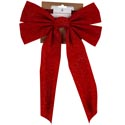 Bow Velvet Glittered Red 11x16 On Xmas Tcd