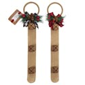 Bell Door Hanger 17in Christmas 2ast Burlap W/buffalo Check Bow & Greenery/3 Bells/xmas Ht
