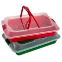 Food Storage Container Christmas Rect Red/grn W/clear Locking Lid & Handles 32g 14.75x3.375x10