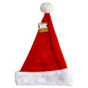 Santa Hat Deluxe Plush Red W/white Cuff 16in Ht/jhook