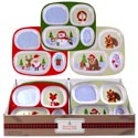 Dinnerware Kids Christmas Tray 4section 3ast Designs/48pc Pdq Melamine Ea W/xmas Label