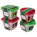Food Storage Container 2pk Square & Round W/christmas Print Red Or Green W/printed Sleeve