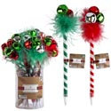 Pen Christmas 2ast 9inl Stripe W/feather/bells In 24pc Pvc Pdq Xmas Label