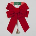 Bow Red Velvet 10x15in W/bell 7 Loop Christmas Tie-card ** No Amazon Sales **