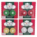 Tealight Led 2pk Glitter 4ast Traditional Colors/12pc Mdsgstrp Christmas Blister