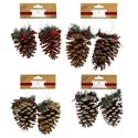Pinecone Ornament 2pk 4ast * W/glitter Gold/red/natural/white Christmas Tie On Header Card