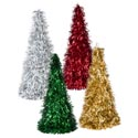 Christmas Tree Tinsel Cone Matte 18in Silver/gold/red/grn Cmas/ht