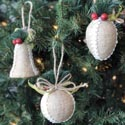 Ornament Burlap W/greens & Trim 3ast Bell/cone/ball Shape 3.25in Christmas Pbh