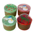 Storage/food Christmas Container Round 4ast W/striped Bottoms 75gm Plastic 6.7x5.9x4.3in Upc