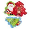 Tray Serving Holiday Print ** **3 Tree Shape Designs 12in Upc Label Santa/tree/reindeer