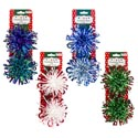 Bow Fountain Loop 2pk 5in/4ast Christmas W/hoho/let It Snow & Merrychristmas Icon Tie On Card