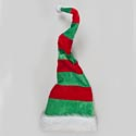 Elf Hat Plush Deluxe 31in Long Red/green Stripe Poseable W/ White Plush Cuff Hangtag/jhook