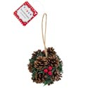 Pinecone Ball Ornament/decor 3in Natural W/berries Christmas Loop W/hangtag