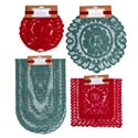 Lace 1/2/3 Pk Doily/runner Asst Red & Green Xmas Header
