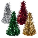 Christmas Tree Tinsel Cone 10in Matte Silv/gold/grn/red Christmas Hangtag