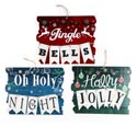 Hanging Christmas Sign Decor 3ast Boards W/burlap Mini Flags 12x9.5in W/twine Loop/xmas Label
