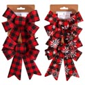 Bow 2pk Buffalo Check 5.5x8 2ast Plain Or W/snowflakes Xmas Tcd
