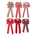 Bow 10x22in 6ast 3 Glitter & 3 Velvet Striped Xmas Tcd