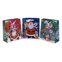 Gift Bag Xmas Hologram 3ast Print Lg 10x12.5x5in Ht/jhook
