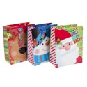 Gift Bag Large Christmas 6ast Jumbo Character Face W/bell Tag 10x12.5x5in Ht/jhook