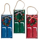 Ornament Holiday Door W/wreath & Snow 6.25 X 3in 3ast Upc Label