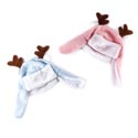 Hat Novelty Baby Hunting Cap W/ Antlers Plush Trim Pink/blue Xmas Ht W/jhook