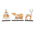 Christmas Table Decor Woodland Deer/tree/bear W/silver Glitter Mdf Upc Label