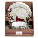 Dinnerware Xmas Melamine 2asst 11in Plate/7.25in Bowl 32pc Pdq Holly/cardinal Xmas 2019