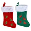 Pet Stocking Deluxe 18in Velour W/glitter Paw Print Red/green Plush Cuff Jhook/ht
