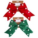 Bow Felt Wired Red/green W/white Pompom Accents 8.5x10in Christmas Tcd