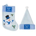 Baby's 1st Xmas Stocking & Hat Set Blue Pb W/label Diy Special Order