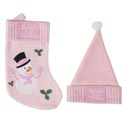 Baby's 1st Xmas Stocking & Hat Set Pink Pb W/label Diy Special Order