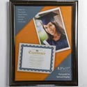 Photo Frame Document 8.5x11 Black W/gold Accent Finish