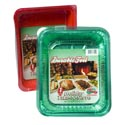 Aluminum Roasters/baking Pans Red/green 60ct Christmas Display Made In Usa